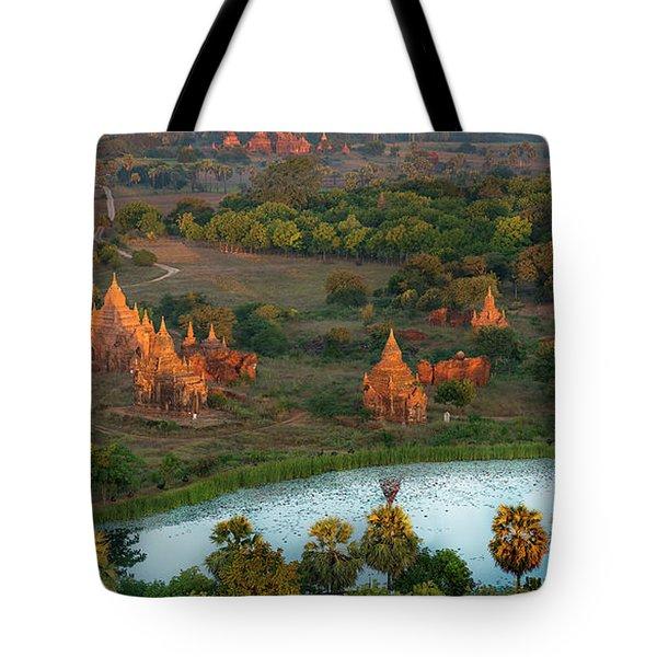 Tote Bag featuring the photograph Beautiful Sunrise In Bagan by Pradeep Raja Prints