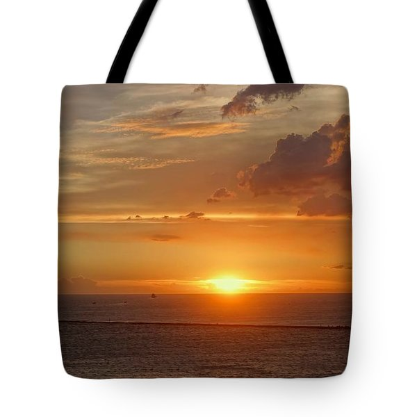 Tote Bag featuring the photograph Beautiful Sunset At Kaohsiung Harbor by Yali Shi