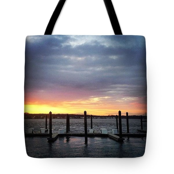 Beautiful Sunset At Belmar Marina Tote Bag by Lauren Fitzpatrick