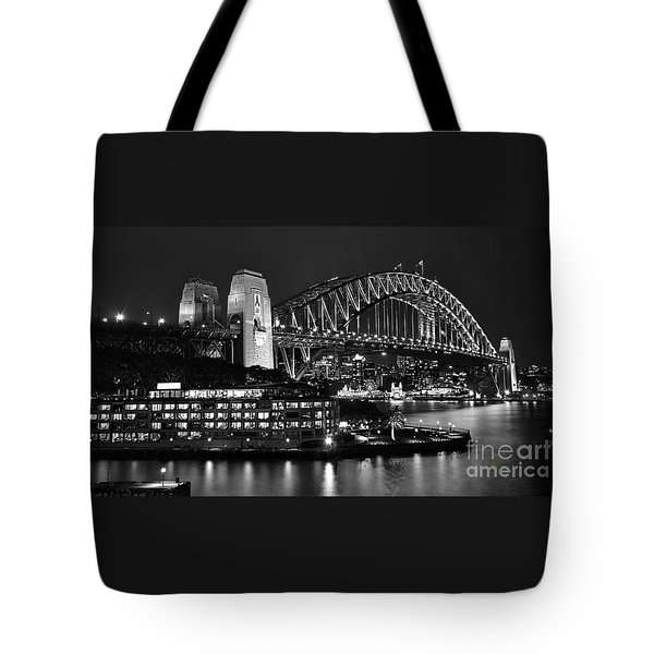 Beautiful Sydney Harbour In Black And White Tote Bag