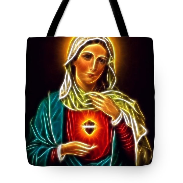 Beautiful Virgin Mary Sacred Heart Tote Bag