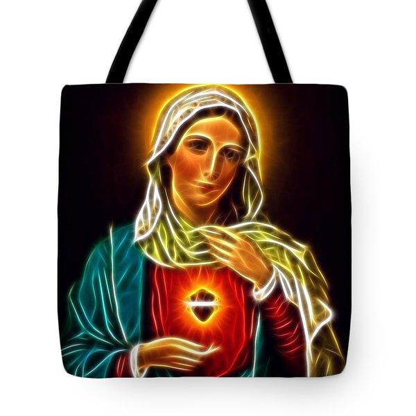 Beautiful Virgin Mary Sacred Heart Tote Bag by Pamela Johnson