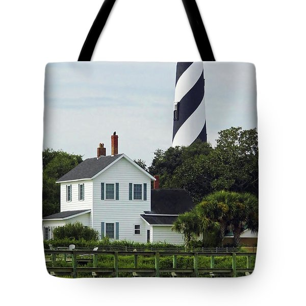 Beautiful Waterfront Lighthouse Tote Bag