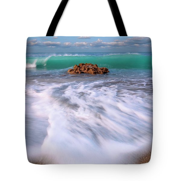 Beautiful Waves Under Full Moon At Coral Cove Beach In Jupiter, Florida Tote Bag by Justin Kelefas