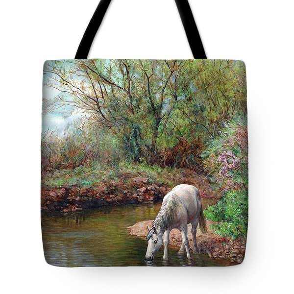 Beautiful White Horse And Enchanting Spring Tote Bag
