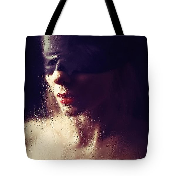 Beautiful Woman Blindfolded #8313 Tote Bag