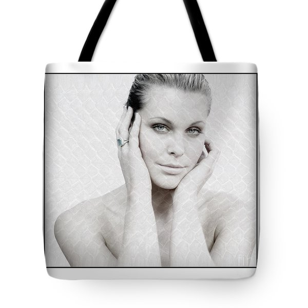 Beautiful Woman Holding Her Head Up Tote Bag