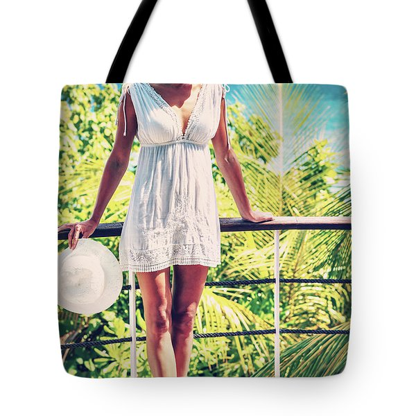 Beautiful Woman In The Beach House Tote Bag