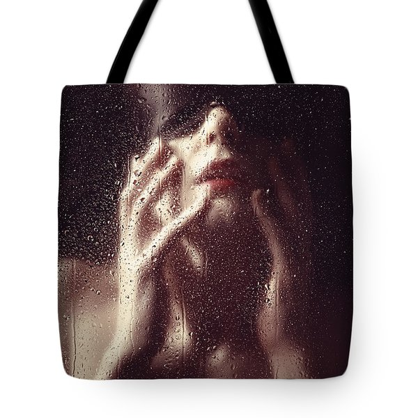 Beautiful Woman Photographed Behind A Window With Rain Drops Tote Bag