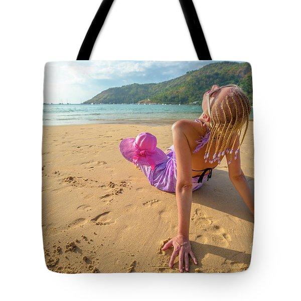 Beautiful Woman Sunbathing On Beach Tote Bag