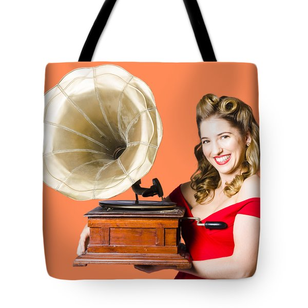 Beautiful Woman With Gramophone Isolated On White Tote Bag