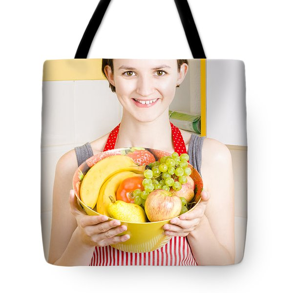 Beautiful Woman With Smile And Fresh Fruit Bowl Tote Bag