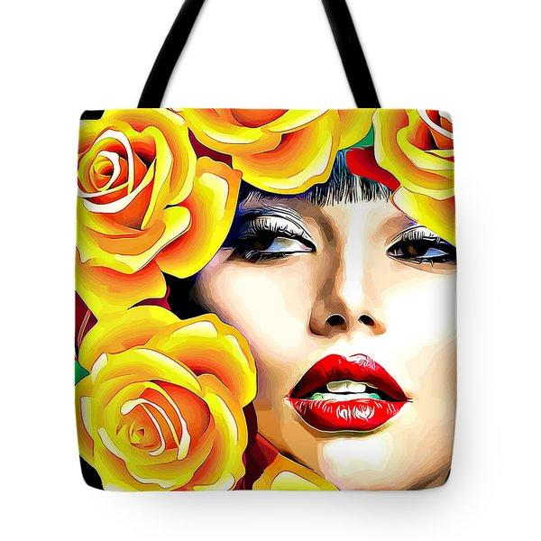 Beautiful Woman Yellow Roses Pop Art Tote Bag