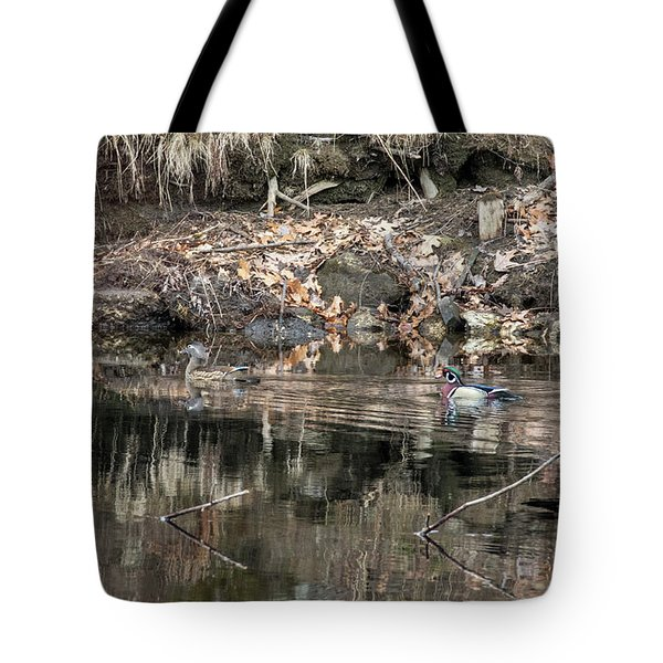 Tote Bag featuring the photograph Beautiful Wood Ducks  by Betty Pauwels