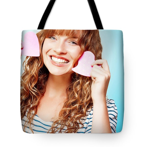 Beautiful Young Woman In A Love Heart Romance Tote Bag