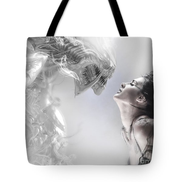 Beauty And The Beast, Beautiful Woman Kissing A Monster Tote Bag