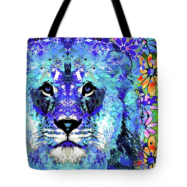 Tote Bag featuring the painting Beauty And The Beast - Lion Art - Sharon Cummings by Sharon Cummings