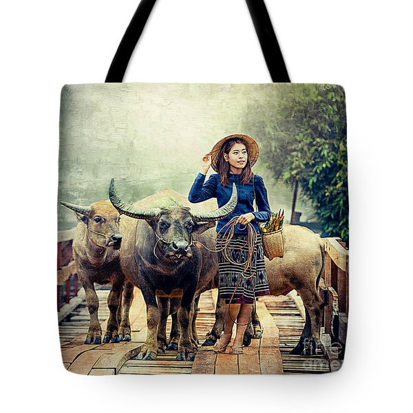 Beauty And The Water Buffalo Tote Bag by Ian Gledhill