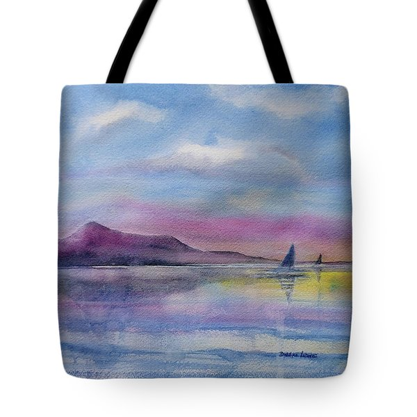 Tote Bag featuring the painting Beauty At The End Of Day by Debbie Lewis