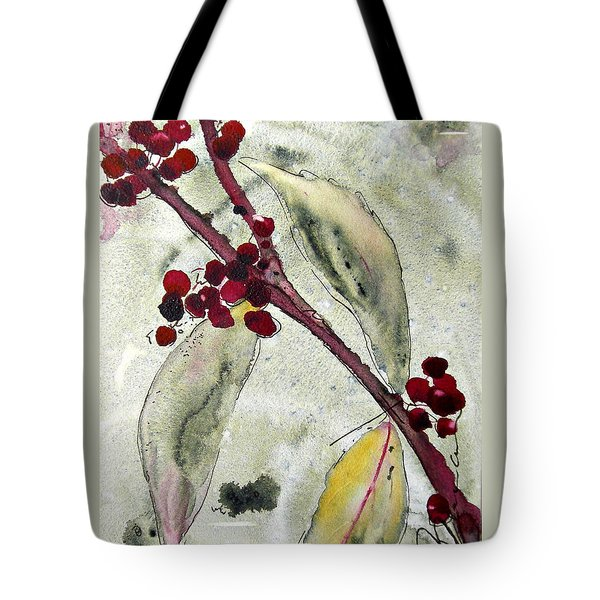 Beauty Berry Branch Tote Bag by Dawn Derman
