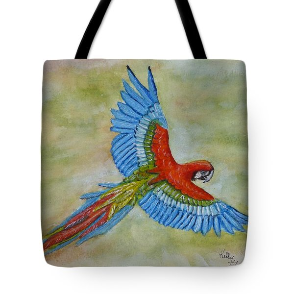Tote Bag featuring the painting Beauty In The Sky ... Parrot by Kelly Mills