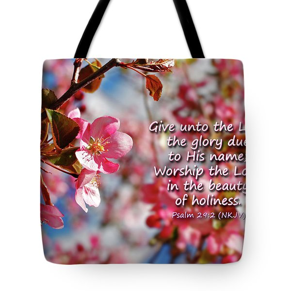 Beauty Of Holiness Tote Bag by Lincoln Rogers