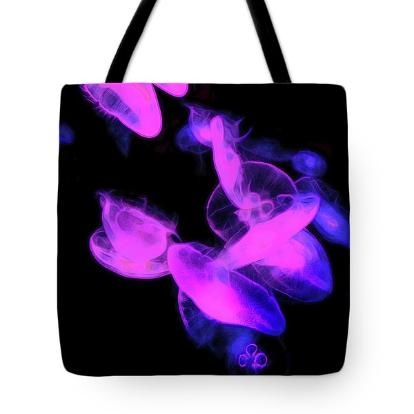Tote Bag featuring the photograph Beauty Of Neon Light And Jelly Fish by Miroslava Jurcik