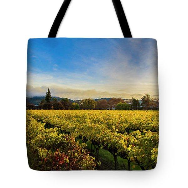 Beauty Over The Vineyard Panoramic Tote Bag