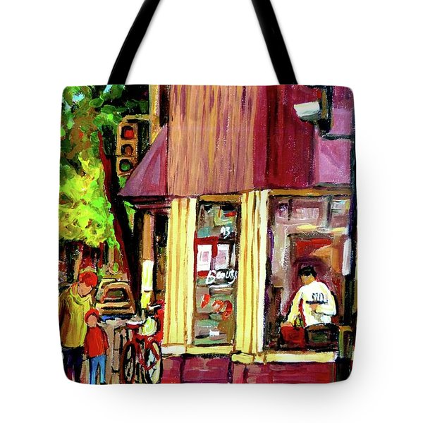 Beautys Luncheonette Montreal Diner Tote Bag by Carole Spandau
