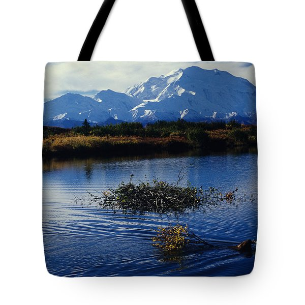 Beaver Hauls Willows To Its Cache Tote Bag