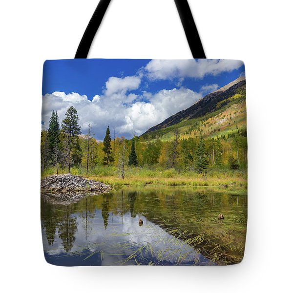 Beaver Lodge With Autumn Views Tote Bag