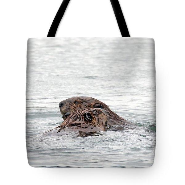 Beavers Snuggling Tote Bag