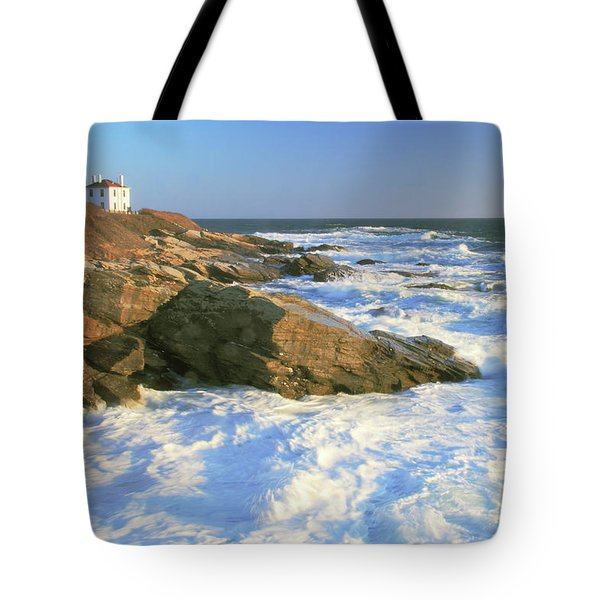 Beavertail Point And Lighthouse  Tote Bag by Roupen  Baker