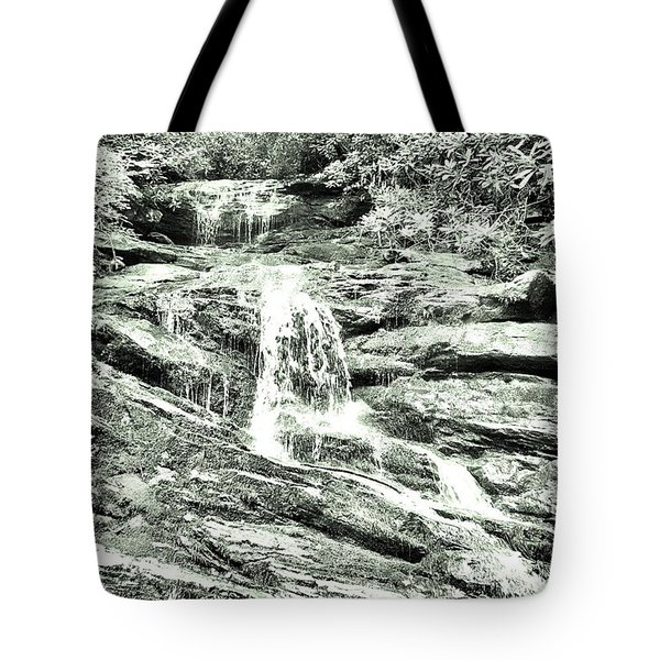 Becky Branch Falls In Green Monochrome Tote Bag