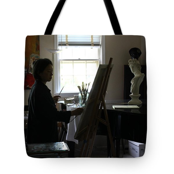 Becky Painting Chopin Tote Bag by Becky Kim