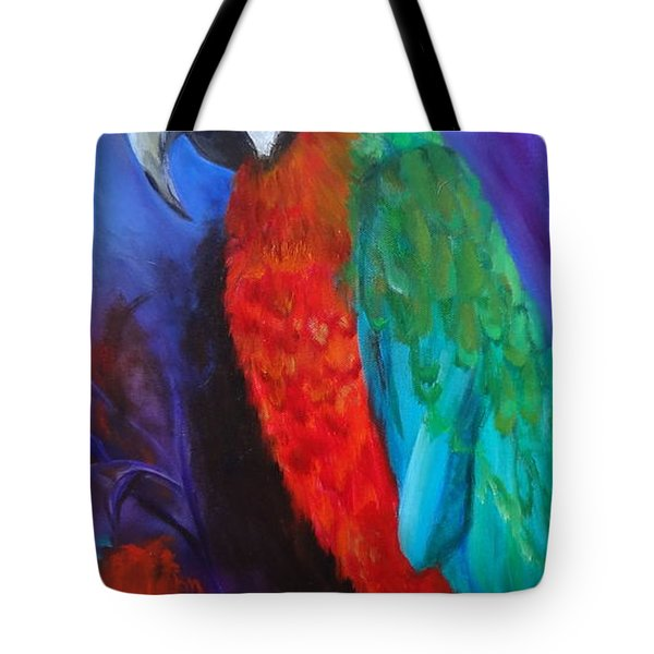 Becky The Macaw Tote Bag by Jenny Lee
