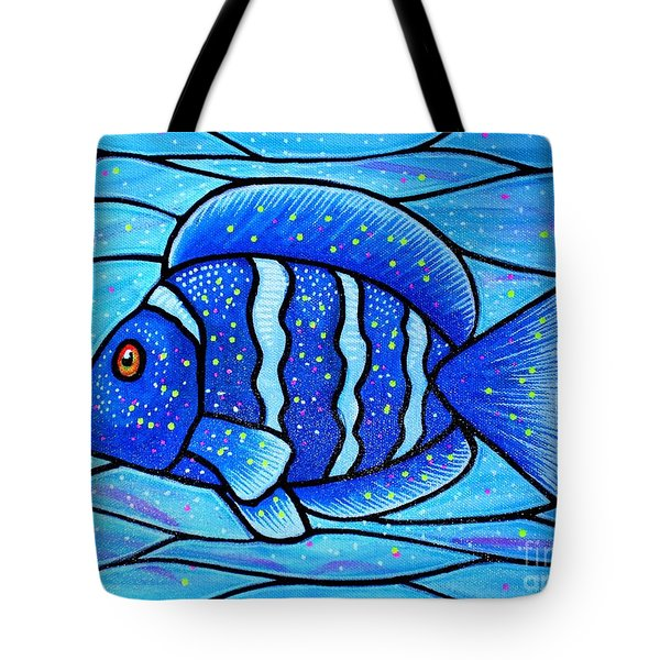 Beckys Blue Tropical Fish Tote Bag by Jim Harris