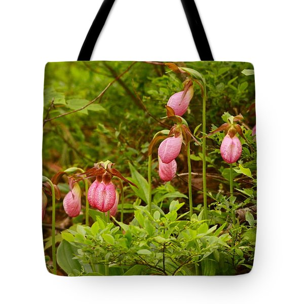 Bed Of Lady's Slippers Tote Bag
