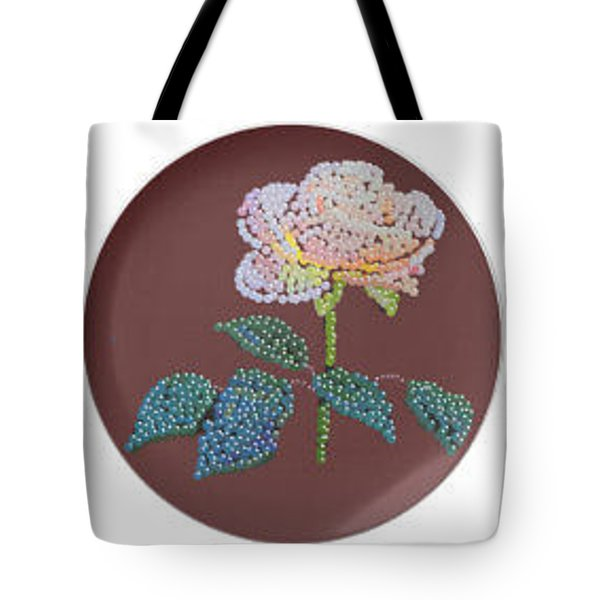 Tote Bag featuring the digital art Bedazzed Rose Plate by R  Allen Swezey