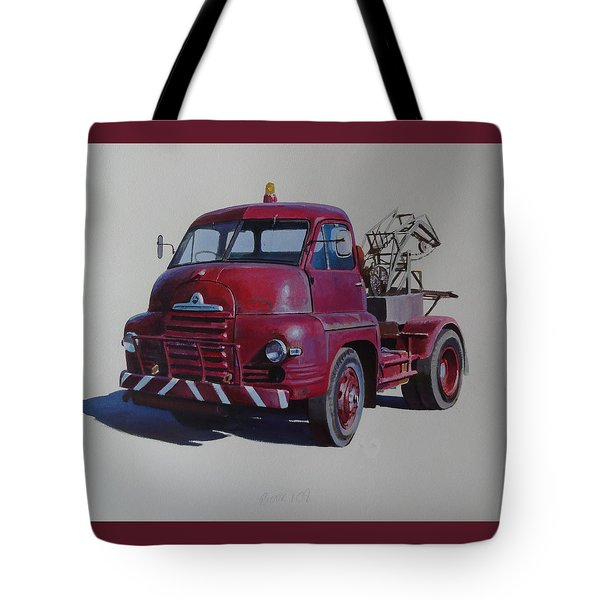 Tote Bag featuring the painting Bedford S Type Wrecker. by Mike  Jeffries