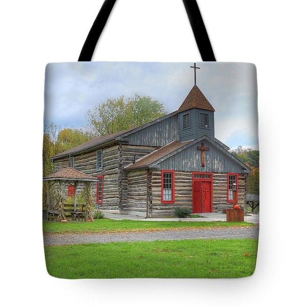 Tote Bag featuring the digital art Bedford Village Church by Sharon Batdorf