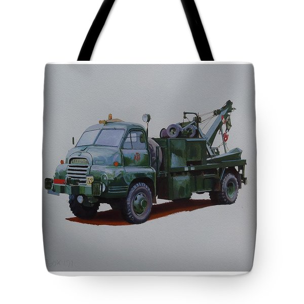 Tote Bag featuring the painting Bedford Wrecker Afs by Mike Jeffries