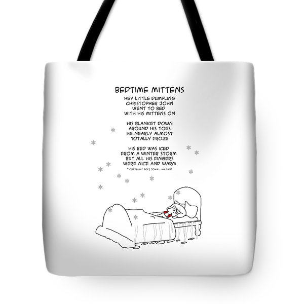 Tote Bag featuring the drawing Bedtime Mittens by John Haldane