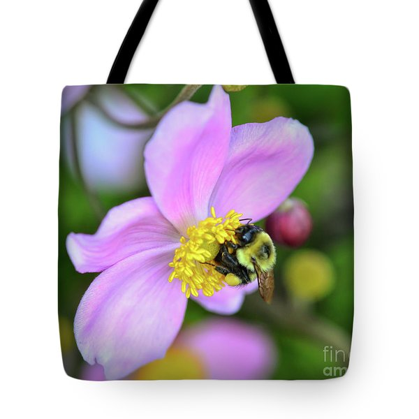 Tote Bag featuring the photograph Bee And Japanese Anemone by Kerri Farley