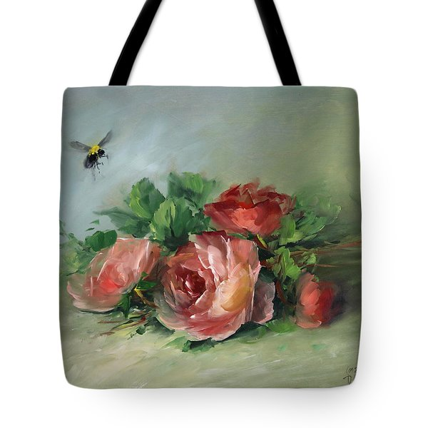 Bee And Roses On A Table Tote Bag by David Jansen
