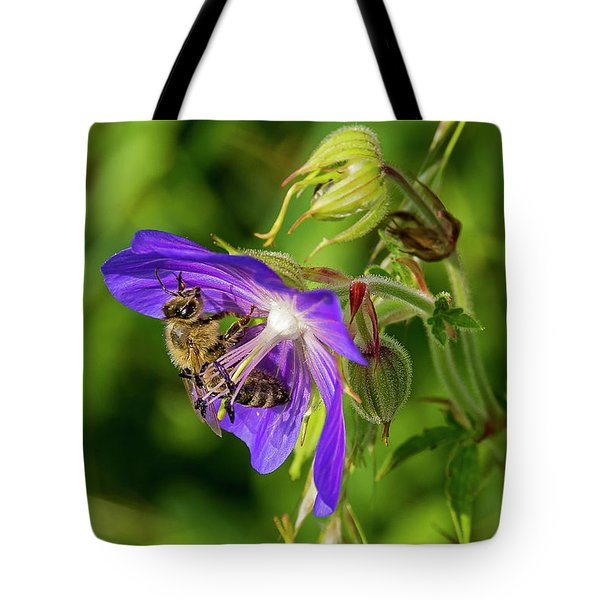 Bee At Work Tote Bag by Ulrich Burkhalter