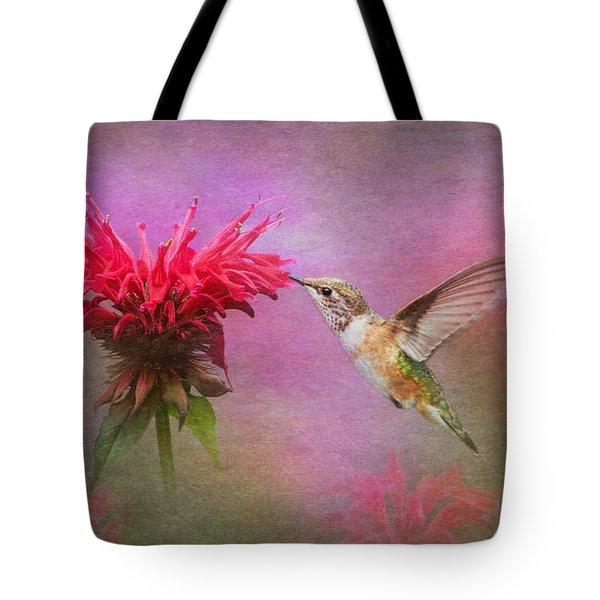 Bee Balm And Hummingbird Tote Bag