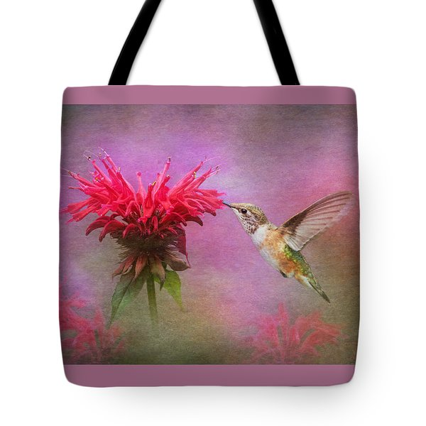Bee Balm And Hummingbird Tote Bag by Angie Vogel