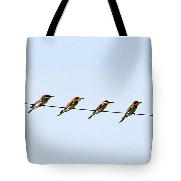 Bee Eaters On A Witre  Tote Bag