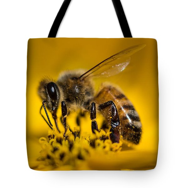 Bee Enjoys Collecting Pollen From Yellow Coreopsis Tote Bag